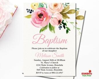 Baptism Invitation Girl, Pink Floral Baptism Invitation, Christening Baby Dedication Religious Invite, Customize Printable Invitation, R1