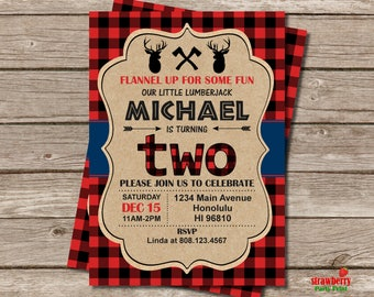 Moose Birthday Invitation, Lumberjack Birthday Invitation, Buffalo Plaid, Red Plaid, Boy Winter Birthday Invitation, A62
