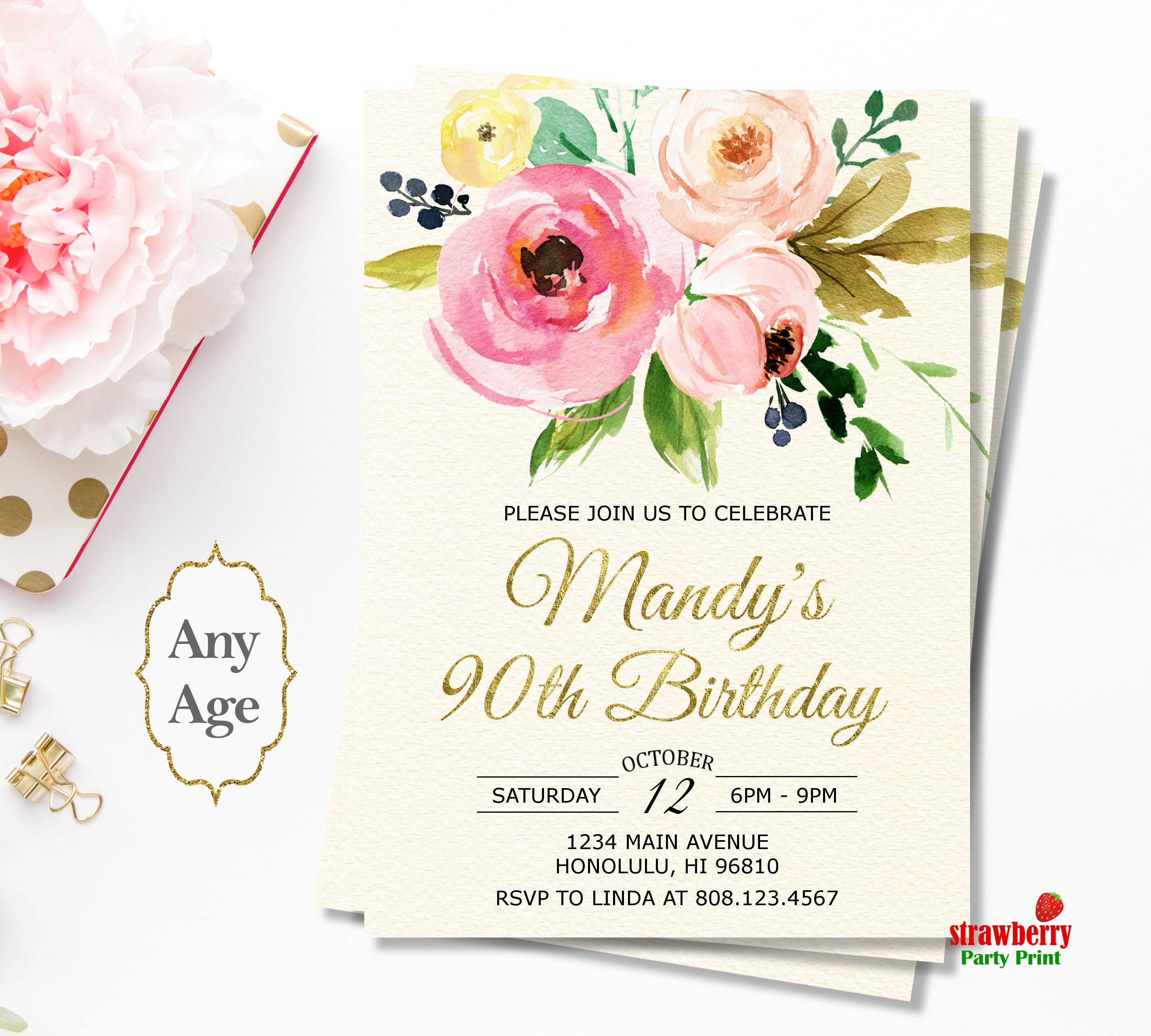 90th Birthday Invitations for Women Floral Birthday Invitation