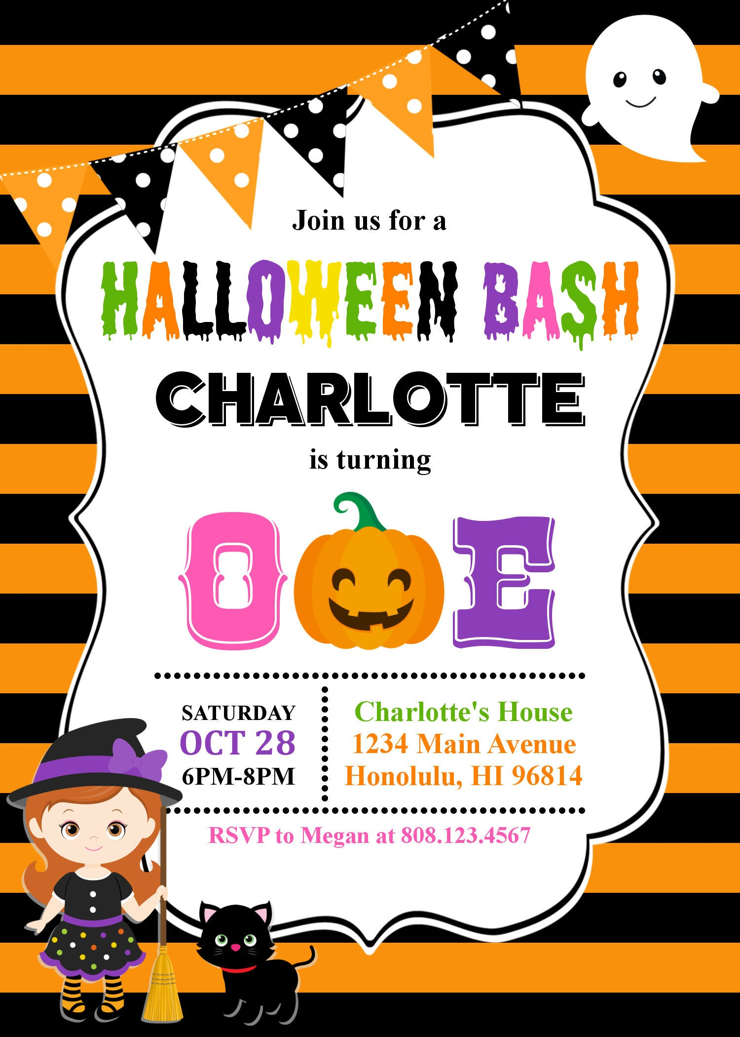 Halloween 1st Birthday Party Invitations Choice Image - Party ...