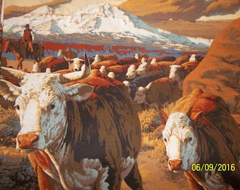 Cattle Drive 100% Cotton Fabric Panel #88