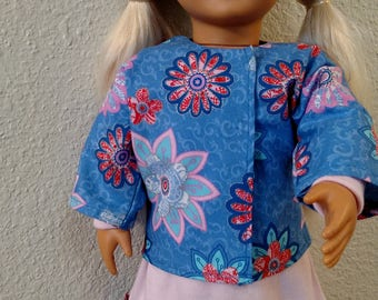 "Pink/Blue Asymmetrical Dress and Jacket for American Girl and 18"" Dolls"