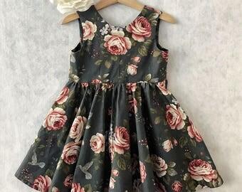 Floral Exposed Zipper Girls Dress