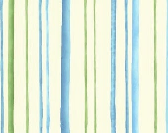 By The HALF YARD - Fairies of the Earth by Wilma Sanchez  for Henry Glass, Pattern #8076-66, Blue and Green Tonal Stripes on a Creamy White