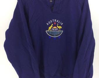 Vintage 90's Australia Blue Sport Classic Design Skate Sweat Shirt Sweater Varsity Jacket Size M #A794