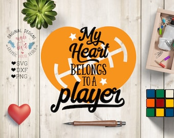 My Heart Belongs to a Player SVG File, Football Cut File in SVG, DXF, Png, Football Valentine svg, My heart belongs svg, Sports svg file