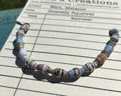 Scaredy Squirrel / stretch bracelet / gifts for booklovers / paperbeads / literary jewelry / librarian gift / bibliophile / kids bookshelf