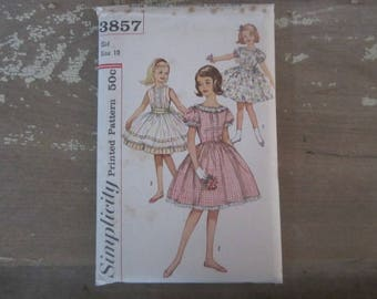 Vintage Simplicity 3857 Printed Sewing Pattern 1960 Child Size 10 Girls Dress Pattern