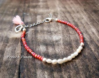 Genuine freshwater pearls and seed beads bracelet