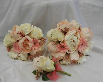 wedding flowers silk wedding package bridal package brides bouquet silk corsage silk buttonhole  bridesmaid bouquet pink peony ivory roses