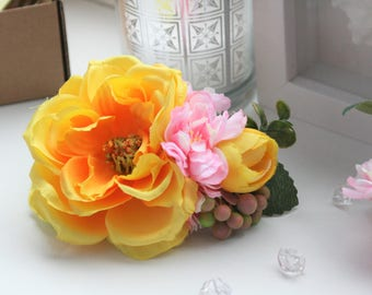 Yellow hair barrette, wedding flower comb, bridesmaid gift, pink and yellow hairpiece, barrette for thick hair, bridal flower fascinator