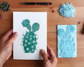 Cactus Rubber Stamp Etsy