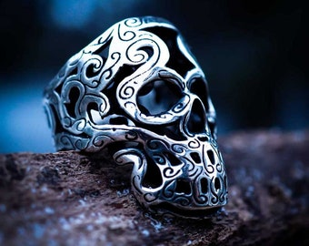 Maori Skull Ring - (Sterling Silver 925, Made in Italy )