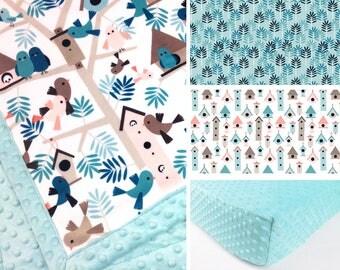 BIRD CRIB SET, birdhouse baby minky bedding, blue gray bedding set, pink gray birds crib set, blanket  neutral gender woodland, baby shower