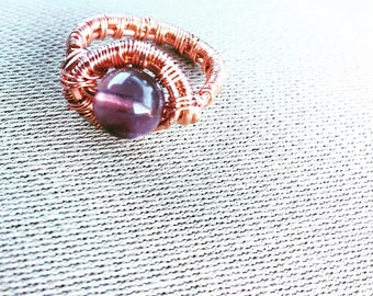 Fluorite Ring -Rainbow Fluorite - Wire Weave- Gemstone Ring- Wire Wrap Ring- Copper Ring