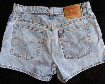 "Vintage High Waist Levis Button Fly Levi Denim Shorts Cutoffs~31"" Waist Denim Shorts Levis Mom Jeans Shorts~100% Cotton~Boho~Festival"