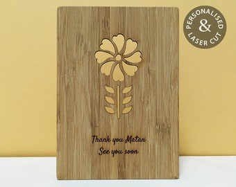 Custom-made Laser Cut Flower Card | Mum, Sister or Best Friend Birthday Card | Personal Message Engraved