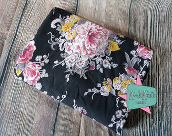 Pink - Floral - Flowers - Black - Cotton Lycra - Cotton Spandex - 4 way - Stretch - Knit - Fabric - Jersey Knit - Material