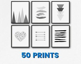 50 Prints - Minimalist Printable Set - Instant Download