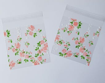 25 x Clear Floral self adhesive Pockets/Treat bags