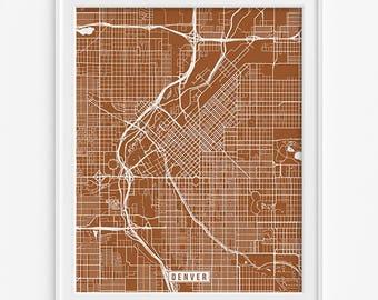 Denver Map, Colorado Poster, Denver Poster, Colorado Print, Denver Print, Colorado Map, Office Decor, Street Map, Mothers Day Gift
