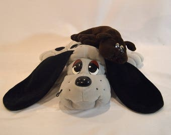 Vintage 1997 Pound Puppy 2 Stuffed Grey, Black, and Brown Animal Dog Puppies