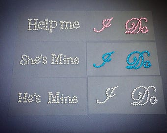 I Do rhinestone shoe stickers - the perfect something blue gift for any bride - groom to be