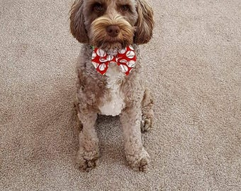 Red with White Baseballs Dog Bow Tie