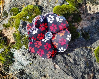 Black/Red/White Dog Paws, Paws of Love Dog Collar Flower Attachment