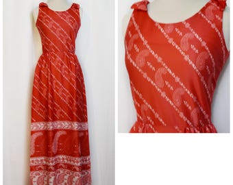 Carole King Red Paisley Maxi Dress