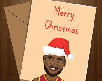 Lebron James Christmas Card, Funny Christmas Card, NBA Card, Basketball Card, Pun Card, Greeting Card, NBA Gift, Lebron Gift