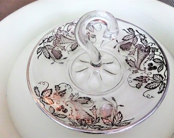 Vintage Crystal Serving Dish With a Swan Shaped Handle and Silver Overlay