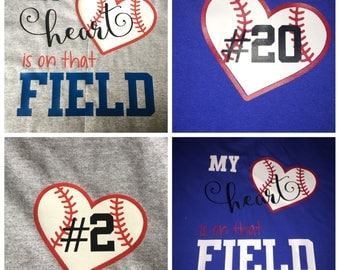 Baseball Shirt - my heart is on that field - Your own High School - Team Spirt Jersey - Girlfriend shirt - 100% customizable - player number