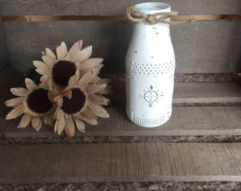 Small Textured Rustic White Milk Jug, Glass Dairy Bottle, Distressed Vase, Farmhouse Decor