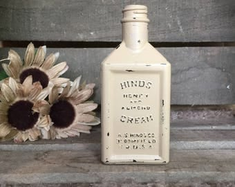 Rustic Hinds Honey and Almond Cream Repurposed Apothecary Vase, Vintage Farmhouse Decor, Beige Vase, Distressed Jar