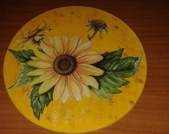 Square round wood sunflowers