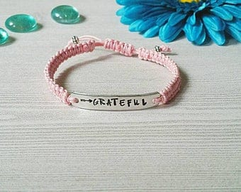 Grateful Bracelet, Macrame Bracelet, Custom bracelet, Woven Bracelet, Braided Bracelet, Friendship Bracelet, Stamped Aluminum, Be Grateful