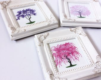 LIMITED EDITION Mini 3x3 White Ornate Frames with Pink Weeping Cherry Blossom and Purple Paulownia Tree Glicée Prints