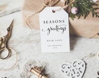 Christmas Gift Tag-Printable Gift Tag -Editable PDF-DIY Template-Favor Tag-Holiday Tag-Seasons Greeting-Holiday Label-Xmas Tag-SN004_XGT6