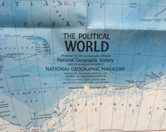 1975 National Geographic Map of the World Old Map for Crafting