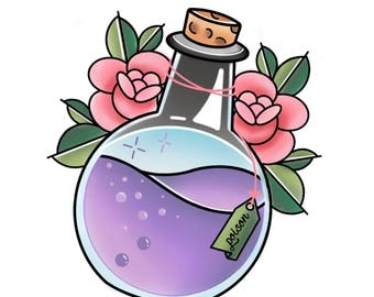 Poison Bottle Temporary Tattoo/Sticker