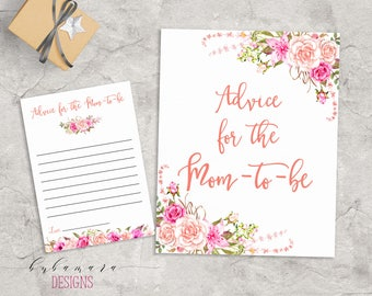 Baby Shower Advice for Mom Game Game Pink Floral Baby Game Trivia Pink Roses Baby Shower Advice Card Digital Printable Baby Activity - CG017