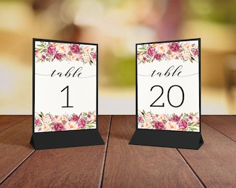 Floral Printable Table Numbers Wedding Floral Table Numbers 1-20 Pink Peonies Wedding Table Sets Bridal Decor Place Table - WS014