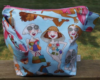 Beach Lovers Zippered Pouch Knitting Project Bag/ Measruing Tape/ Pockets