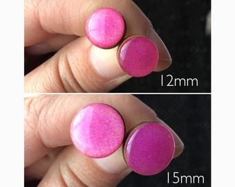 15mm/12mm Round Purple Glitter Bamboo/Resin Stud Earrings • Surgical Steel • Hypoallergenic • Glossy