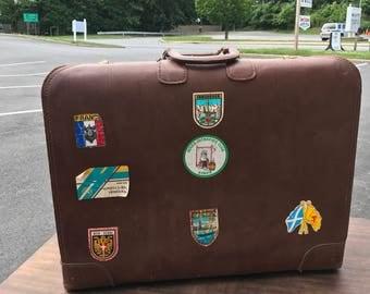 Vintage Travel Leather Suitcase