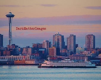 Seattle Ferry and The Space Needle