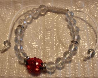 Cute Crystal & glass-beaded bracelet in clear, red and black; shamballa, handmade, beadweaving, beautiful, casual-wear, party-wear