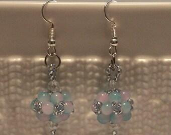Beautiful Czech crystal-beaded earrings in blue and pink: handmade, beadweaving, dangle & drop, cute, casual-wear, party-wear