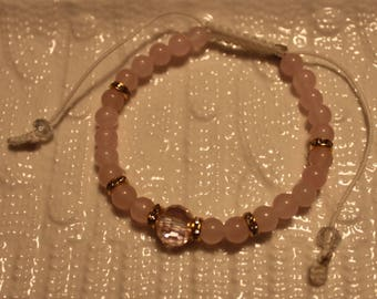 Beautiful Rose Quartz & Crystal-beaded bracelet; handmade, shamballa, cute, pink, casual-wear, party-wear